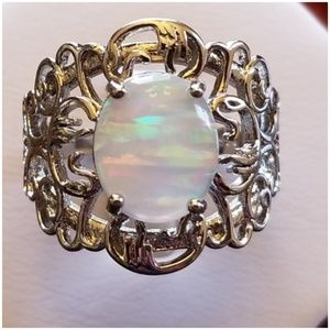 5ct White Jupiter Opal Ring Size 8